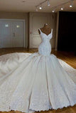 Vintage V-neck Royal Train Satin Mermaid Wedding Dresses With Lace Embroidery PFW0054