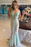 Vintage Mint Lace Mermaid Prom Dresses V Neck Elegant Formal Party Dress