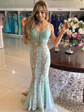 Vintage Mint Lace Mermaid Prom Dresses V Neck Elegant Formal Party Dress PFP0634