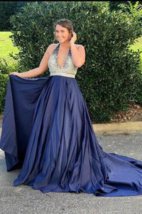 Halter Navy Blue Long Prom Dresses Beaded Backless Evening Dresses