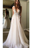 Floral Open Back Deep V-neck Straps Tulle Appliques Prom Dress,, Floral Princess Wedding Dress PFW0255