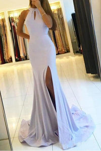 Elegant Backless Mermaid Prom Dresses with Split,Simple Teens Party Dresses