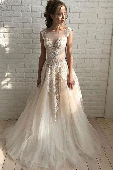 Elegant A Line Tulle Lace Long Prom Dresses,Unique Wedding Dress PFW0057