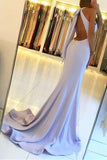 Elegant Backless Mermaid Prom Dresses with Split,Simple Teens Party Dresses PFP0637