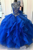 Royal Blue Organza High Neck Quinceanera Dresses Burgundy Beading Prom Dresses