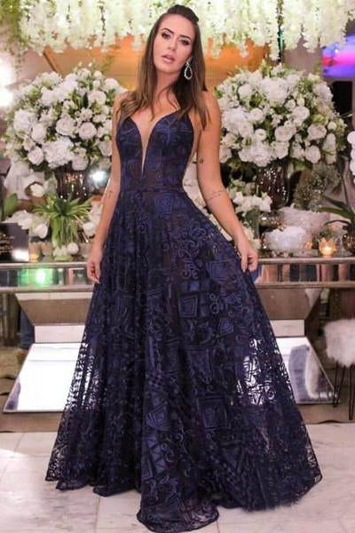 Navy Blue Lace Long Prom Dresses Spaghetti Strap V Neck Cheap Formal Dress