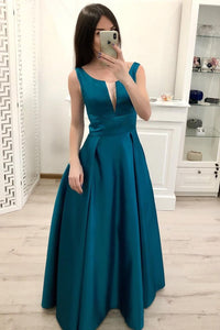 Simple A Line Satin Prom Dresses, Cheap Formal Dress For Teens