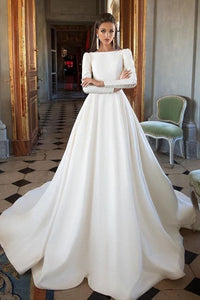 Simple Ivory Long Sleeves Satin A Line Wedding Dresses PFW0005