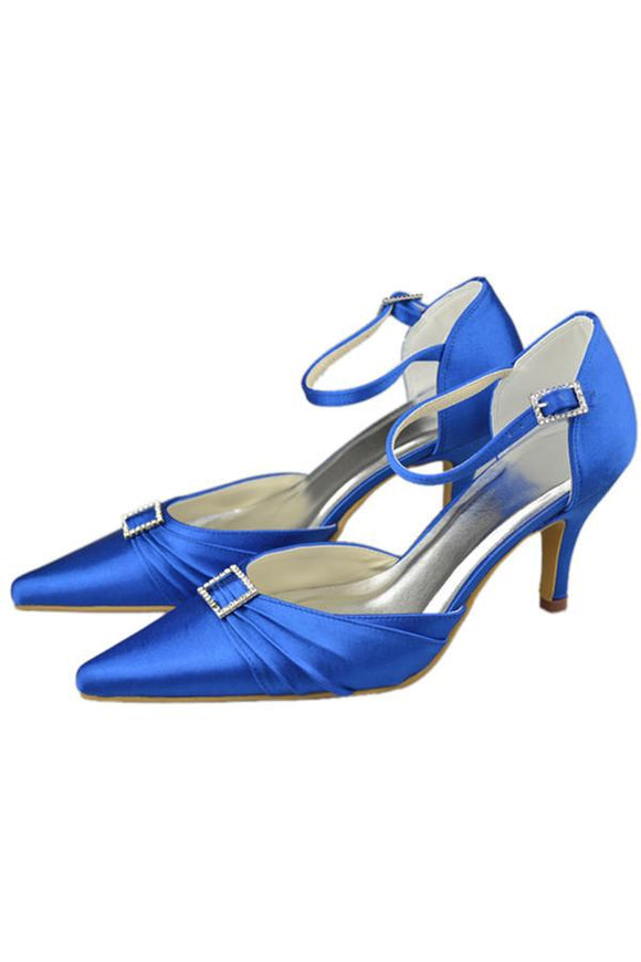 Blue Pointed Toe Ankle Straps Beading High Heel Evening Party Shoes PFWS0014