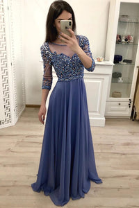 Chiffon A Line 3/4 Sleeves Beaded Blue Long Prom Dresses, Formal Party Dress