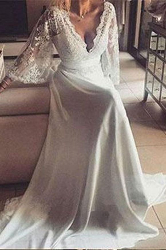 Romantic Boho V Neck Lace Appliques Long Sleeve Beach Wedding Dress PFW0061