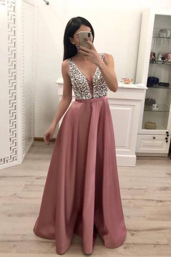 A Line Beading Satin Prom Dresses, V Neck Sleeveless Cheap Prom Dress