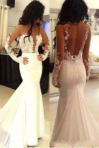 Beautiful Long Sleeves See Through Mermaid Lace Appliques Wedding Dresses With Trailing PFW0063