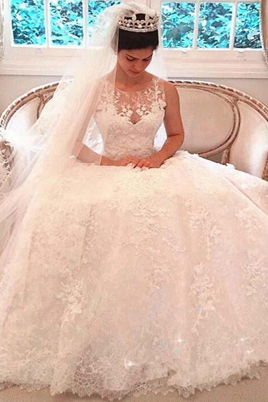 Princess Shinny Lace Button A-Line Wedding Dresses With Trailing PFW0064