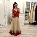 A Line Tulle Long Prom Dress With Red Appliques,Junior Party Prom Dresses PFP0644