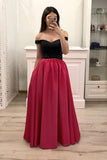 Hot Pink Satin Long Prom Gown With Pockets, Simple Beaded Evening Dresses With Black Top