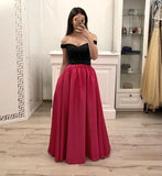 Hot Pink Satin Long Prom Gown With Pockets, Simple Beaded Evening Dresses With Black Top PFP0645