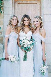 Beautiful Chiffon Light Blue Sexy A Line Long Cheap Bridesmaid Dresses PFB0051