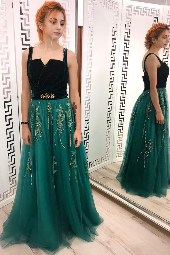 A Line Green and Black Tulle Prom Dresses, Charming Appliques Formal Dress