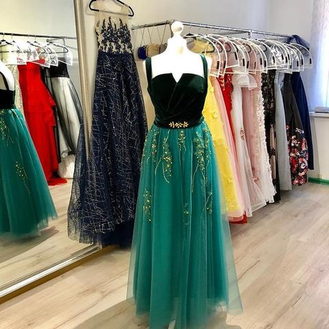 071ee38ffbd1 ... A Line Green and Black Tulle Prom Dresses, Charming Appliques Formal  Dress PFP0646 ...