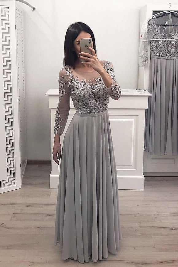A Line Gray Chiffon Long Sleeves Prom Dresses, Cheap Appliques Evening Gown