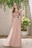 Rose Gold A Line Backless Bridesmaid Dresses,Sequins Chiffon Cheap Beach Bridesmaid Dress