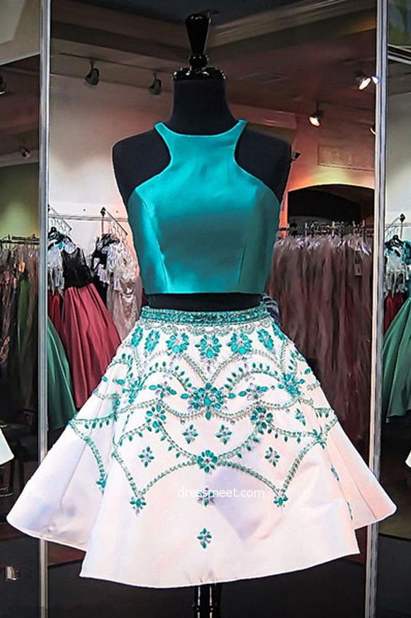 Cute A Line Two Piece Turquoise Short Homecoming Dresses with Beading PFH0046