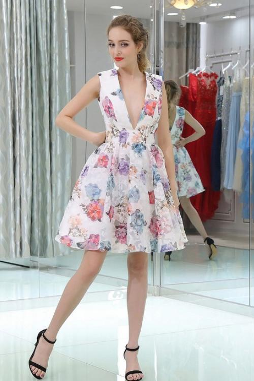 Princess Short A Line V Neck Floral Homecoming Dress PFH0047
