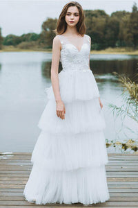 Unique Tiered Tulle Low Back V Beck Boho Beach Wedding Dress With Lace Appliques PFW0006