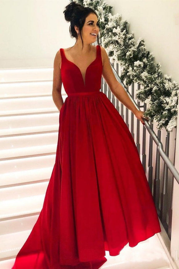 high quality guarantee 100% top quality no sale tax Simple Broad Straps Red Long Prom Dresses with Pocket V Neck Cheap Formal  Dress PFP0650