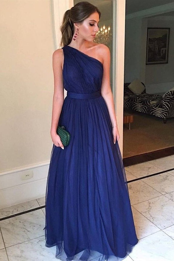 Royal Blue Tulle Long Prom Dresses One Shoulder Simple Bridesmaid Dress