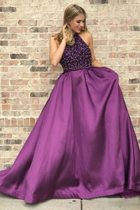 Halter Purple Long Satin Prom Dresses Beaded Junior Evening Gown 2019