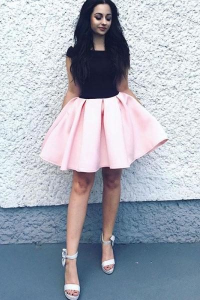 Elegant A-Line Bateau Sleeveless Pink Short Homecoming Dress With Black Top PFH0051