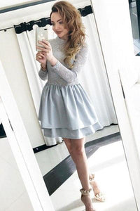 Cute A-Line Jewel Long Sleeves Grey Short Homecoming Dress with Lace Top PFH0052
