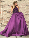 Halter Purple Long Satin Prom Dresses Beaded Junior Evening Gown 2019 PFP0653