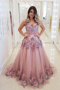 Broad Strap Floral Appliqued Long Prom Dresses Cheap A Line Evening Dress