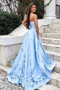 Sweetheart Sky Blue Long Satin Cheap Prom Dresses with 3D Floral Applique