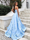 Sweetheart Sky Blue Long Satin Cheap Prom Dresses with 3D Floral Applique PFP0657