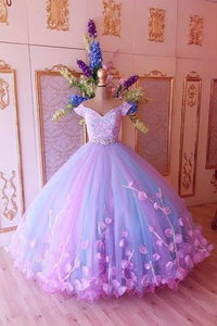 Princess Pink and Blue Ball Gown Cheap Prom Dresses,Quinceanera Dresses