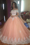 Off the Shoulder Lace Appliques Ball Gown Cheap Prom Dresses,Quinceanera Dresses