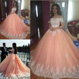 Off the Shoulder Lace Appliques Ball Gown Cheap Prom Dresses,Quinceanera Dresses PFP0660