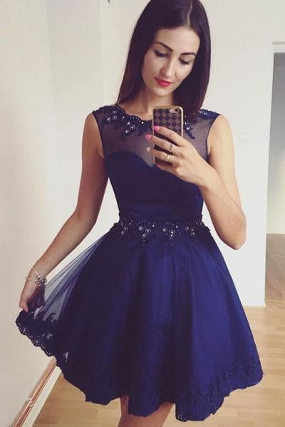 Royal Blue Beaded A-Line Tulle Short Homecoming Dress with Lace Appliques PFH0057