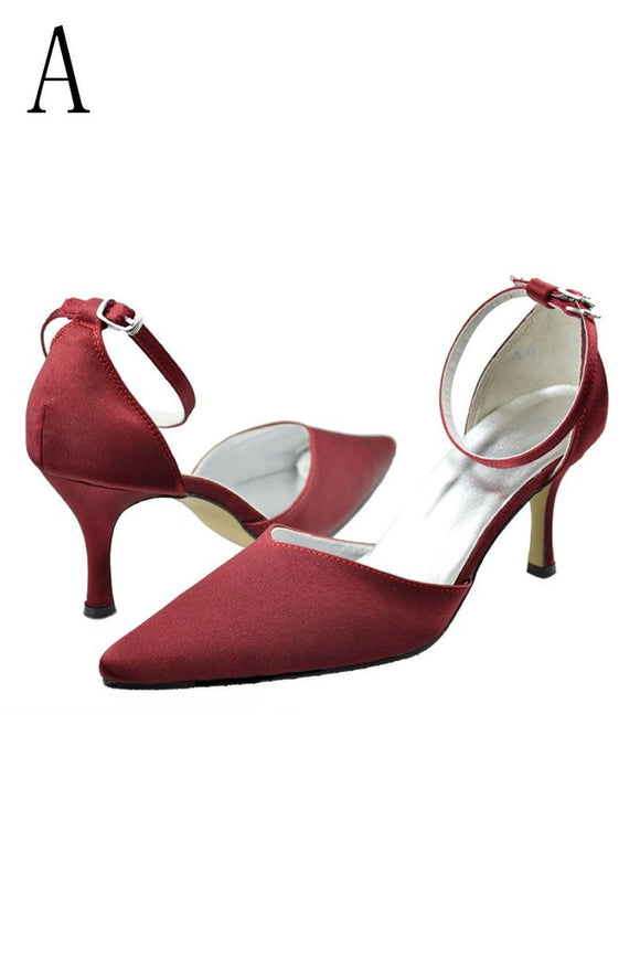 Burgundy Ankle Strap Comfy Close Toe Wedding Dress For Women PFWS0015