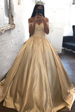 Off the Shoulder Appliques Ball Gown Cheap Prom Dresses