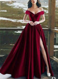 Elegant V-neck Off The Shoulder Long Satin Prom Dresses With Slit PFP0151