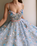 A-Line Lace Spaghetti Straps Long Light Blue Prom Dress PFP0152