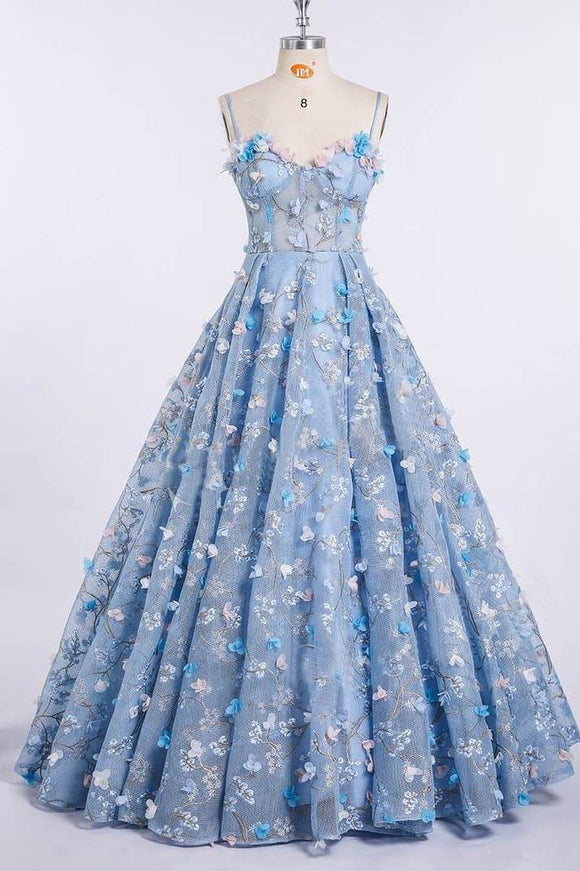 Princess Spaghetti Strap 3D Flower Applique Sky Blue Prom Dresses Ball Gowns
