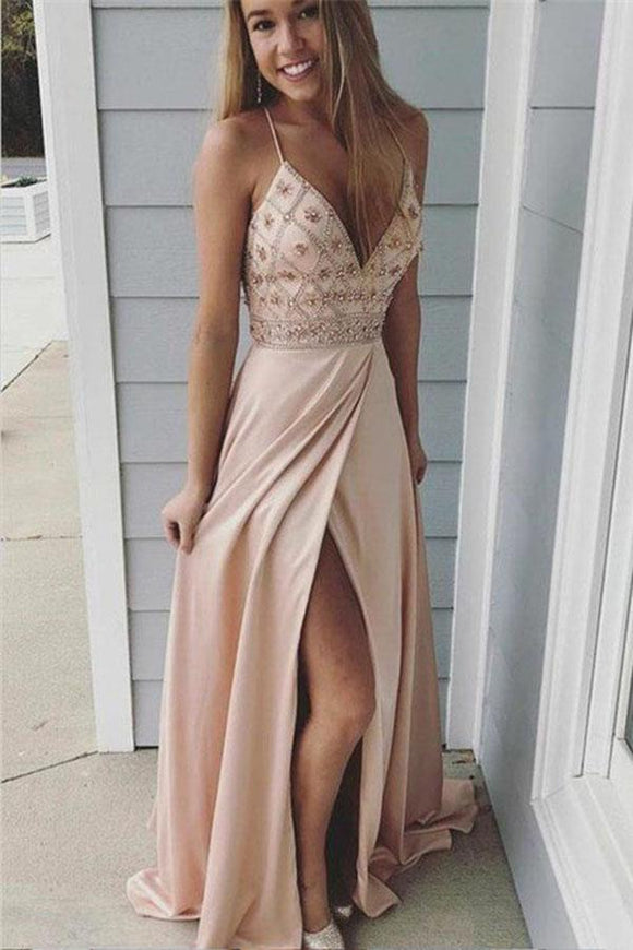Sexy Spaghetti Straps Beaded Long A-Line Side Slit Prom Dresses PFP0154