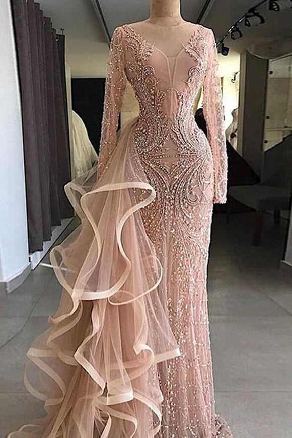 Chic Pink Sheath Long Sleeve Beading Ruffles Tulle Prom Dress PFP0157