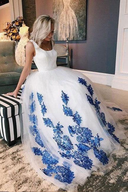 White Scoop Tulle Blue Lace Long Prom Dress, Evening Dress PFP0159